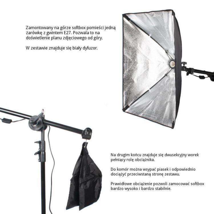 Zestaw BOOM z obciążnikiem i softboxem 40x60cm 1xE27