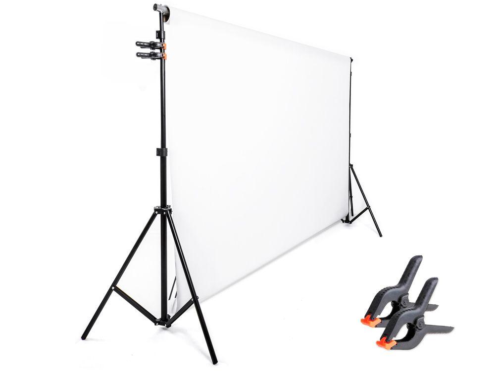 Zestaw zawieszania teł + 1x tło na tulei 1,6x5m + klipy żabka - DOMOWE STUDIO''