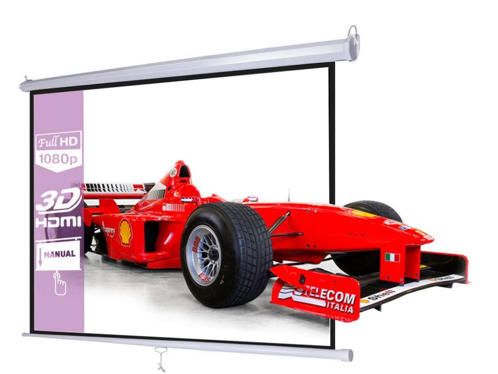 Ekran projekcyjny 240x180cm 4:3 16:9 manualny, ścienny-sufitowy