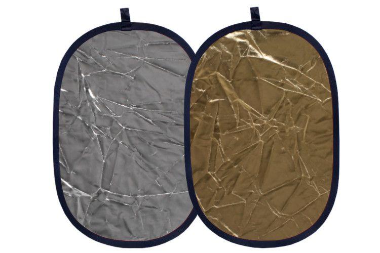 Blenda 2w1 owalna złoto srebrna, rozmiar 92x122cm