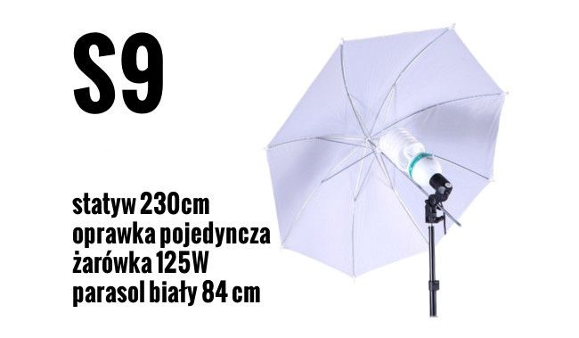 S9 Zestaw OŚWIETLENIOWY 125W=600W Statyw 230cm