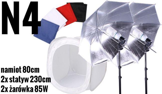 N4 Zestaw bezcieniowy - 2x400W + 2x parasolka srebrno-biała + namiot 80cm