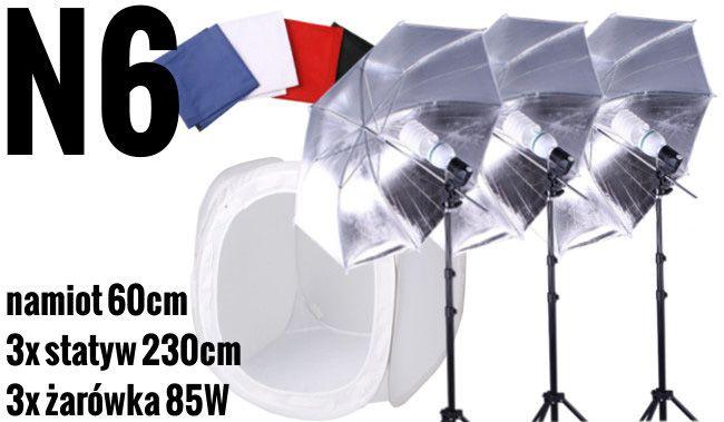 N6 Zestaw bezcieniowy - 3x400W + 3x parasolka srebrno-biała + namiot 60cm