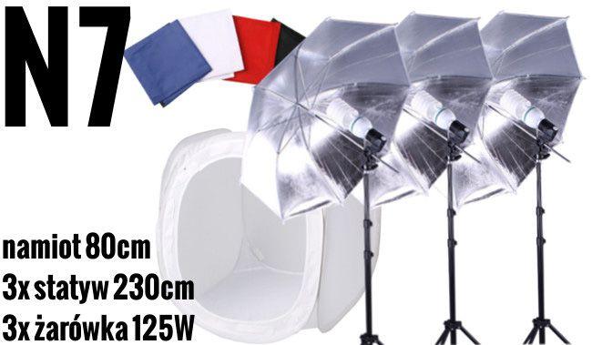 N7 Zestaw bezcieniowy - 3x600W + 3x parasolka srebrno-biała + namiot 80cm