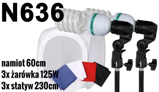 N636 Zestaw bezcieniowy - 3x600W + namiot 60cm