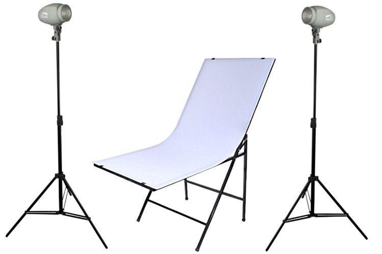 B10 zestaw oświetlenia błyskowego (2x DF-150 + stół szybki montaż 60x100cm + 2x statyw)