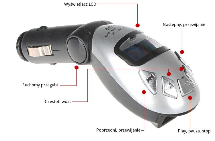Transmiter FM USB SD/SDHC/MMC +pilot, model T95M kolor srebrny