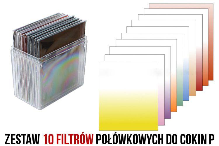 Zestaw 10 filtrów połówkowych COKIN P + etui