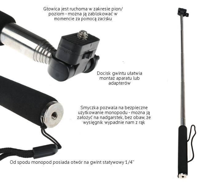 MONOPOD Wysięgnik typ B z uchwytem do telefonu, smartfona M + GP03 SELFIE