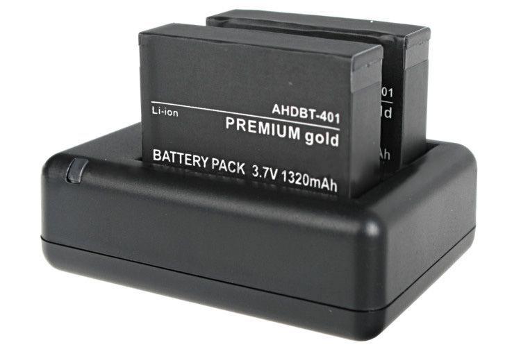 Podwójna ładowarka AHDBT-401 (GoPro Hero 4) (GP182)