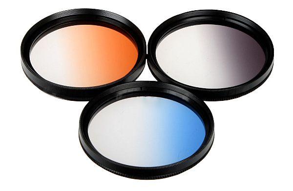 Zestaw 3 filtrów połówkowych 72mm w FUTERALE
