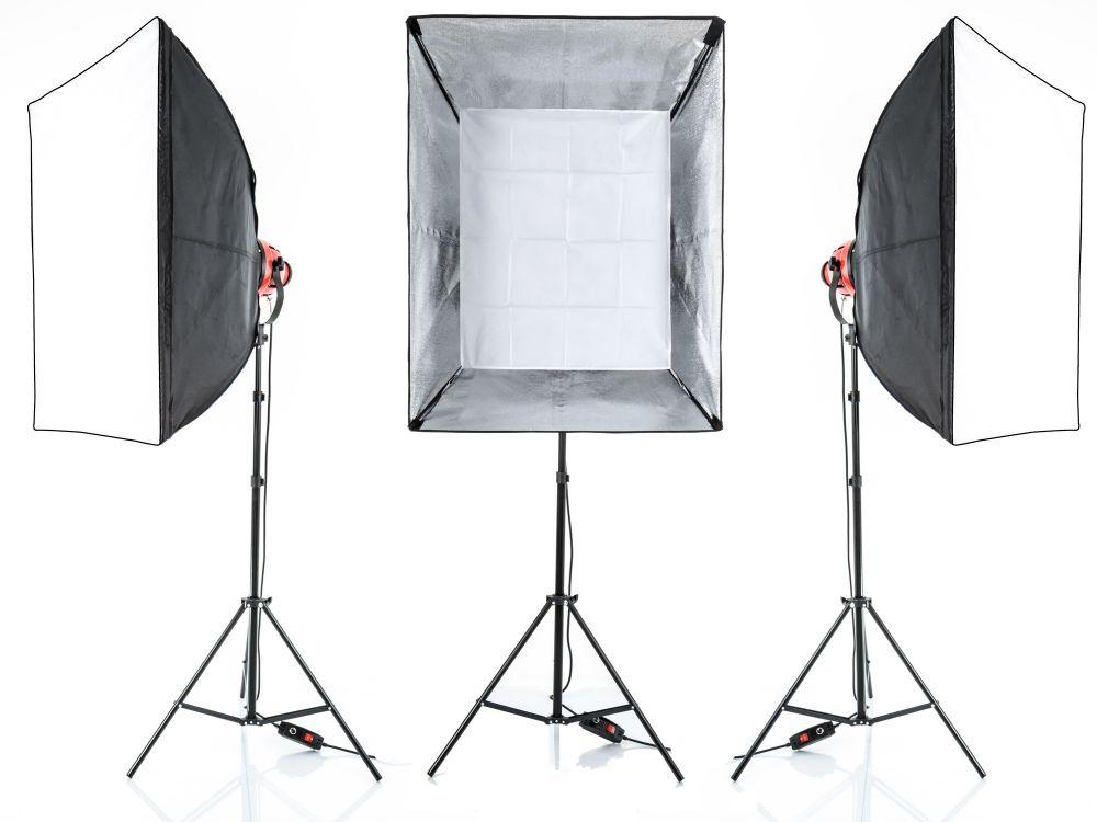 Zestaw oświetleniowy 3x lampa 800W Spot Light, Red Head, 3x statyw + walizka + 3x SOFTBOX 70x90, model PL-04