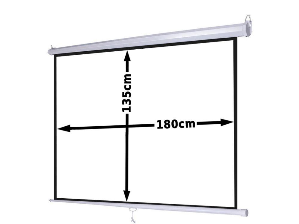 Ekran projekcyjny 180x135cm 4:3 16:9 manualny, ścienny-sufitowy