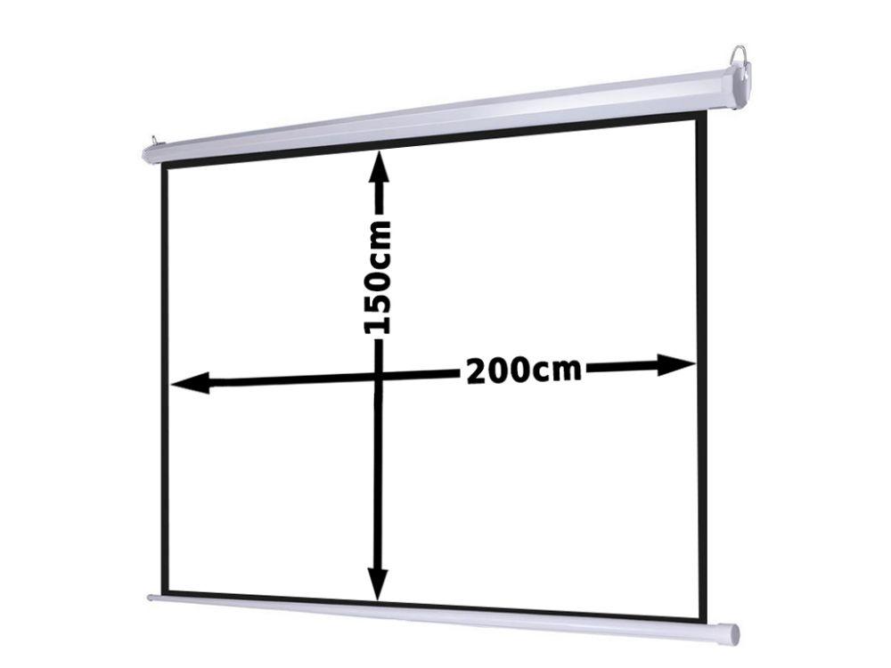 Ekran projekcyjny 200x150cm 4:3 16:9 elektryczny, ścienny-sufitowy