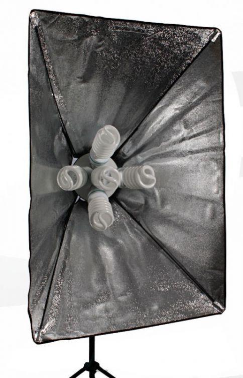 L13 ZESTAW: 2x softbox 60x90cm , 2x statyw 230cm, 10x żarówka 85W