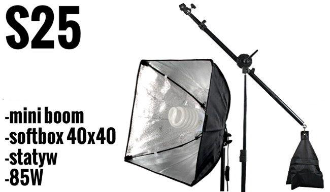 S25 Zestaw OŚWIETLENIOWY 85W=400W, Statyw 295cm, Mini boom, Softbox 40x40 na żarówkę E27