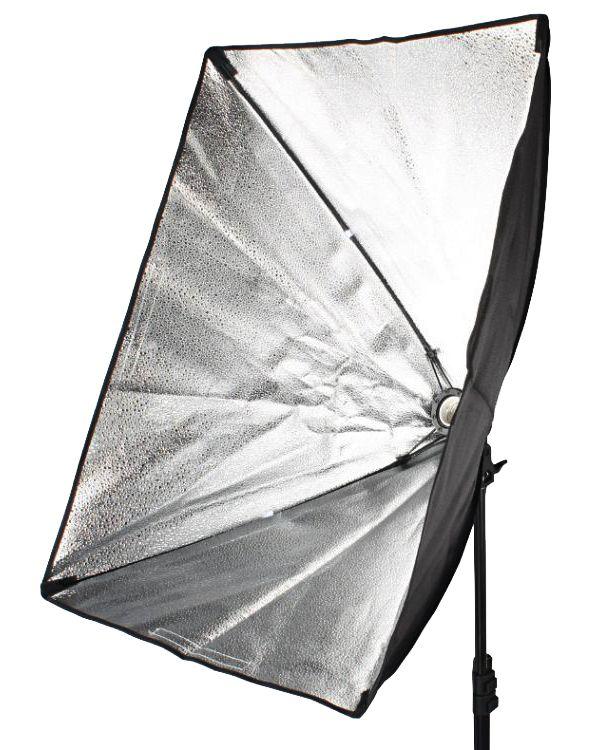 L16 ZESTAW: Lampa światła ciągłego + softbox 50x70cm na 1xE27 + żarówka 45W