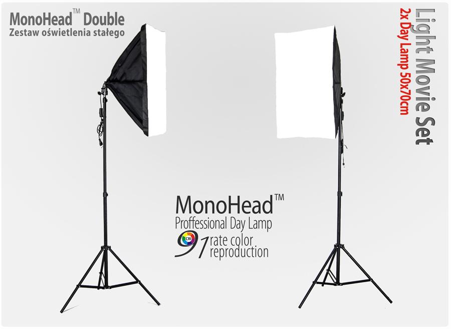Lampa SOFTBOX MonoHead™ Double 50x70, 2x statyw 230cm