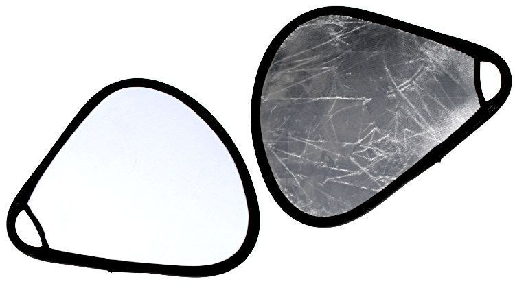 Blenda 2w1 trójkątna srebrno biała, rozmiar 60cm