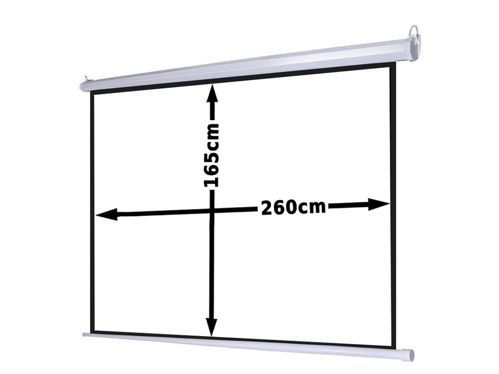 Ekran projekcyjny 260x147cm 4:3 16:9 elektryczny, ścienny-sufitowy