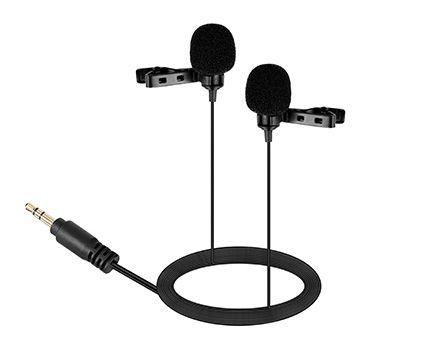 Mikrofon podwójny STEREO z klipsem BY-LM300