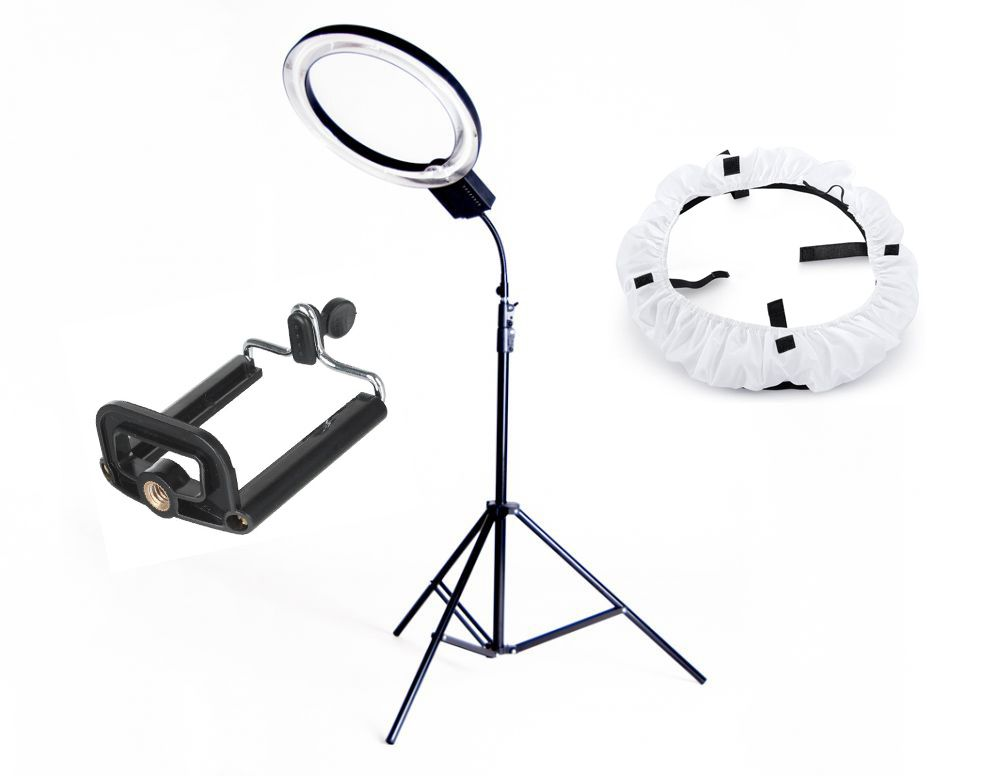 Lampa pierścieniowa RING NG-65C 65W + Statyw 805 + Dyfuzor