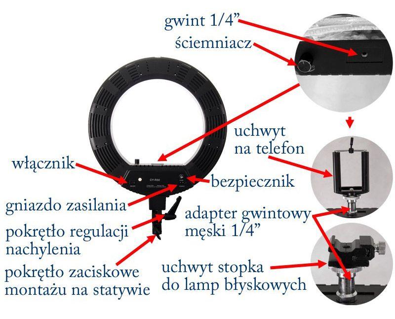 Lampa pierścieniowa fluorescencyjna RING 50W ŚCIEMNIACZ