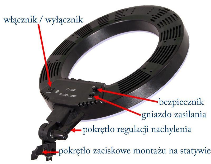 """Lampa pierścieniowa LED RING 18"""" 50W ŚCIEMNIACZ"""