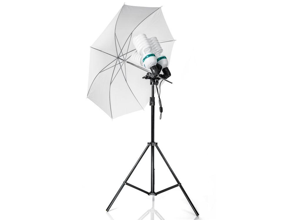 Zestaw oświetleniowy 2x600W + 400W parasol czarno-biały 230cm Z114