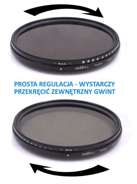 Filtr pełny szary, regulowany 49mm FADER NDx2 - NDx400