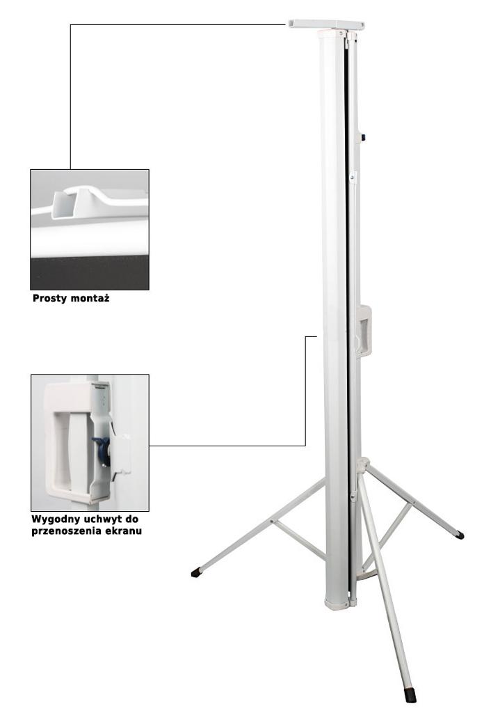 Ekran projekcyjny 150x150cm 4:3 16:9 manualny, statywowy